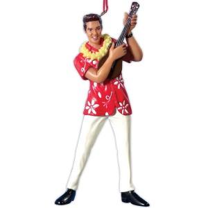 Elvis Red Hawaiian Shirt with Ukulele Ornament