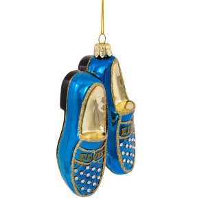 Elvis Blue Suede Shoes Glass Ornament