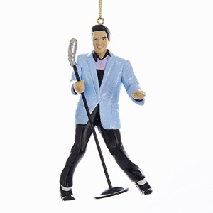 Elvis Blue Suit Hound Dog with Mic Ornament