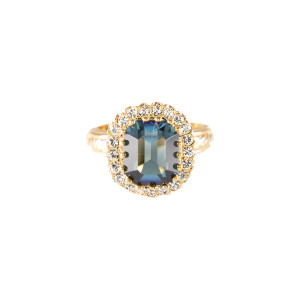 Lowell Hays 18K Yellow Gold Plated Blue Sapphire Ring