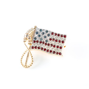 American Flag Pin – 18k Yellow Gold Plated with Swarovski Crystal Stones