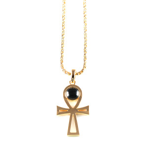 Lowell Hays Ankh with Blue Sapphire Gold Necklace
