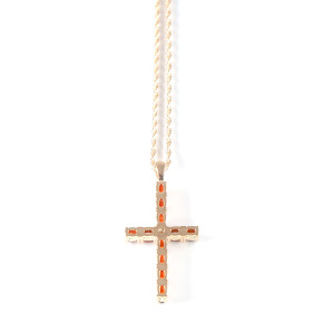 Lowell Hays Cross set with Swarovski Crystals 18K Gold Necklace