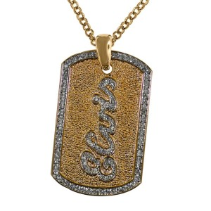 Lowell Hays Gold Plated Elvis Dog Tag Necklace