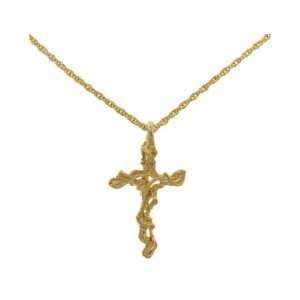 Lowell Hays Gold Plated Nugget Cross Necklace