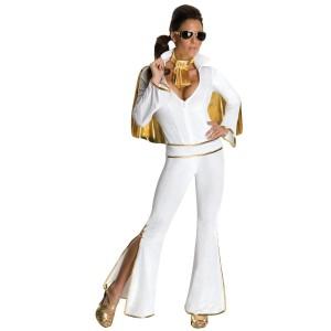 Elvis Women's Jumpsuit Costume - White