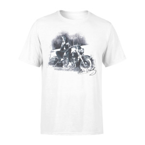 Elvis and His Motorcycle White T-shirt
