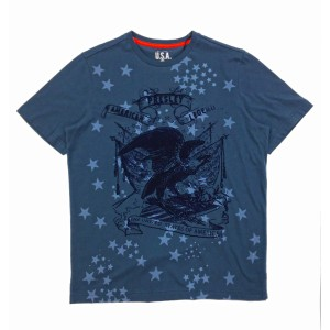 Denim Blue Elvis Presley Stars and Eagle T-Shirt