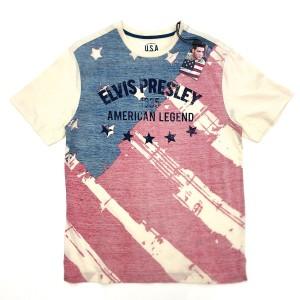 Beige Elvis Presley American Legend Flag T-Shirt