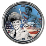 Elvis America's Son Chrome Clock