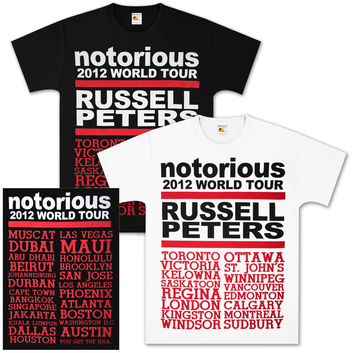 Russell Peters Notorious 2012 World Tour T-Shirt