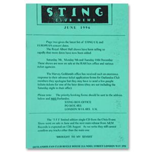 Sting June 1996 Newsletter