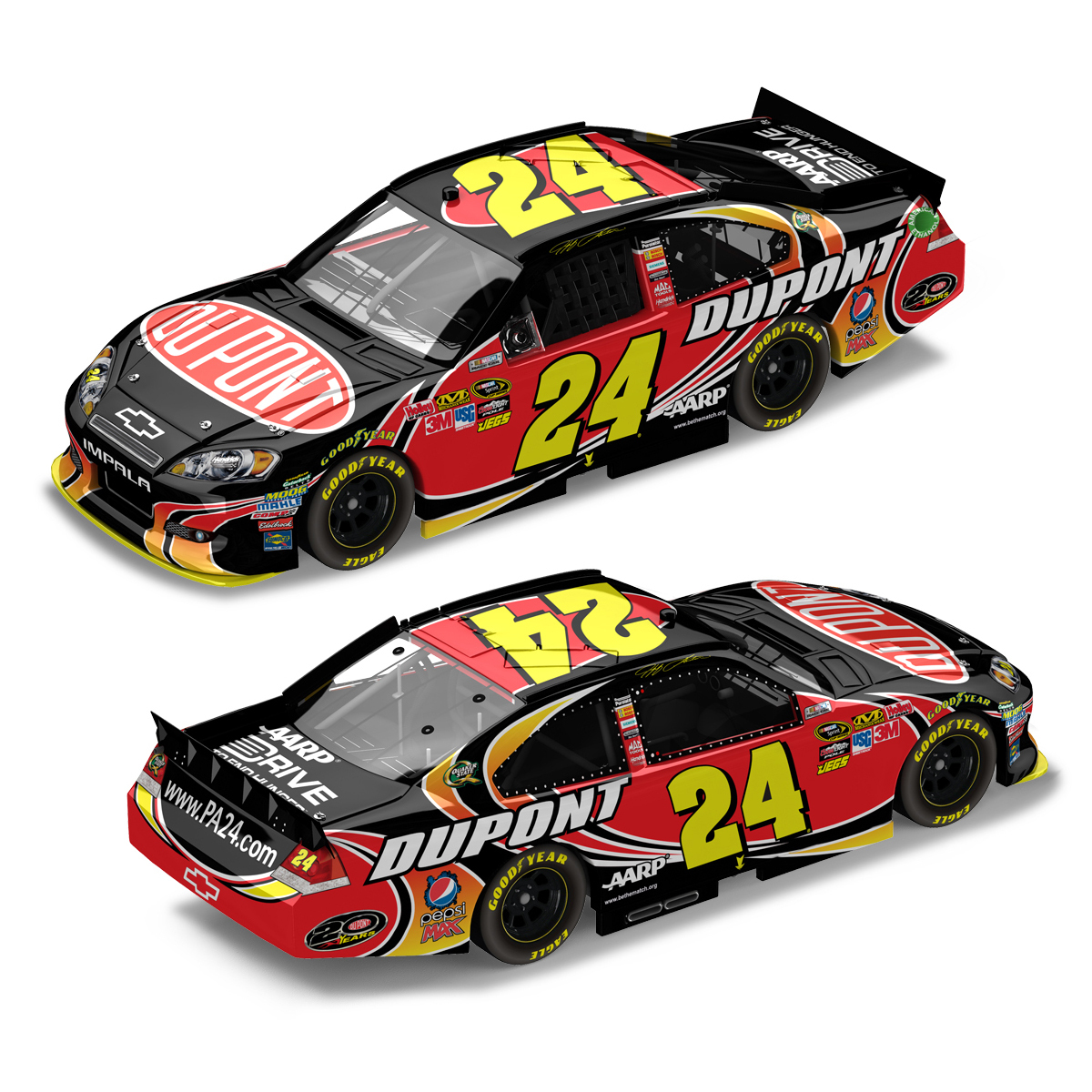 Jeff Gordon #24 2012 DuPont 1:24 Scale Standard Finish DieCast