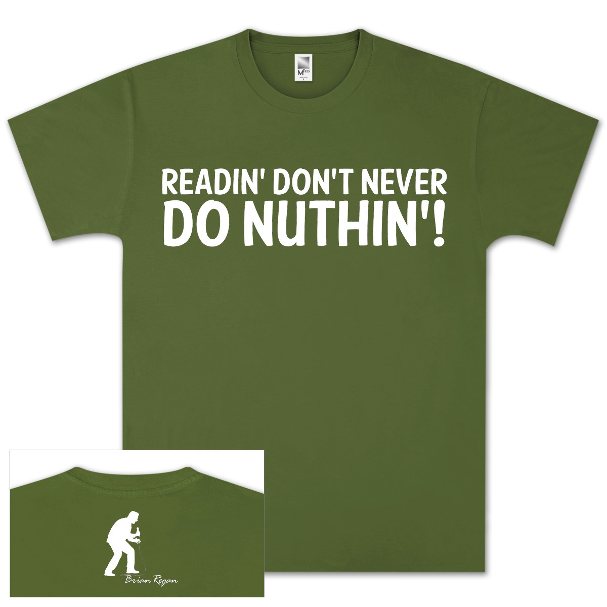 Brian Regan Readin T-Shirt - Olive Green