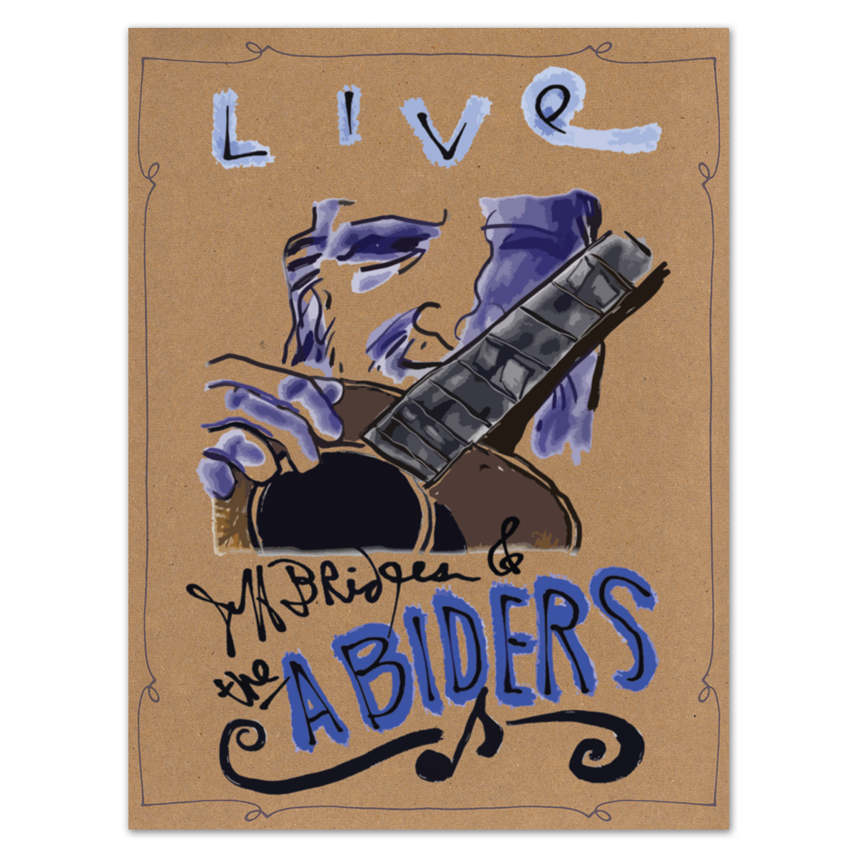 Jeff Bridges & The Abiders Signed Poster