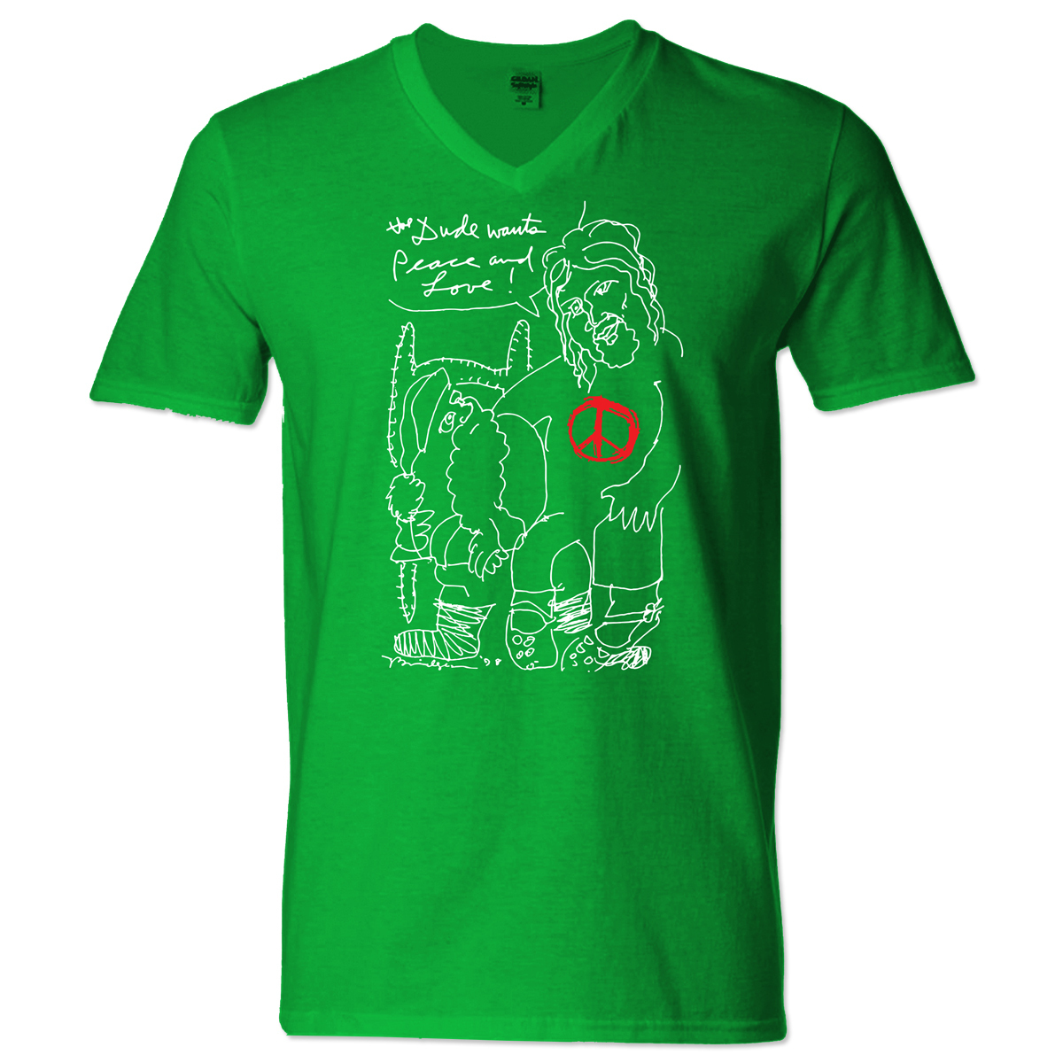 Jeff Bridges Christmas Green V-Neck T-shirt - Men's
