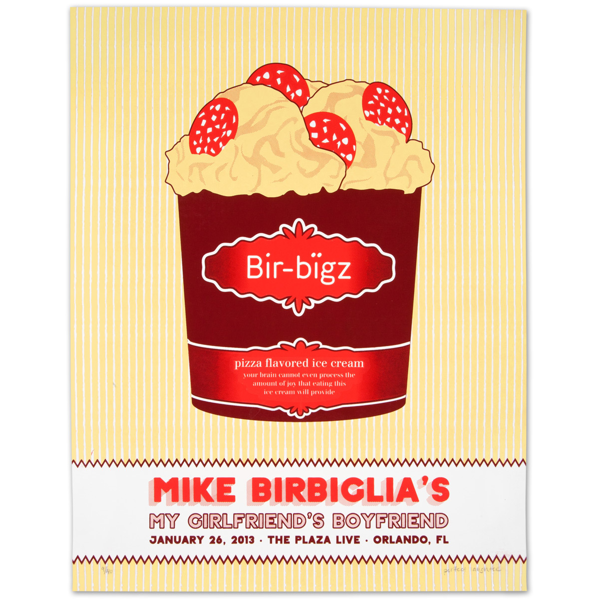 Mike Birbiglia Pizza-Flavored Ice Cream Poster - Orlando, FL 1/26/13