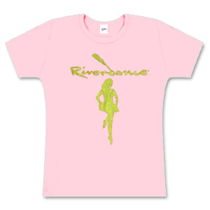 Riverdance Pink Ladies Skinny Tee with Gold Girl Dancer Logo
