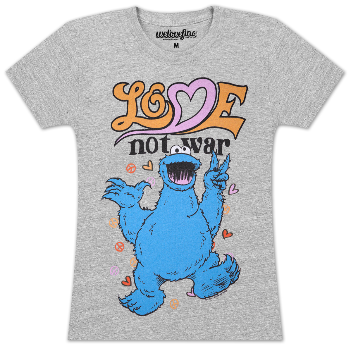 Cookie Monster Love Not War Juniors T-Shirt
