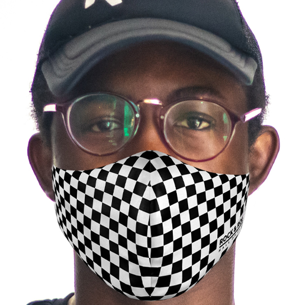 Adult White Checkered Face Mask