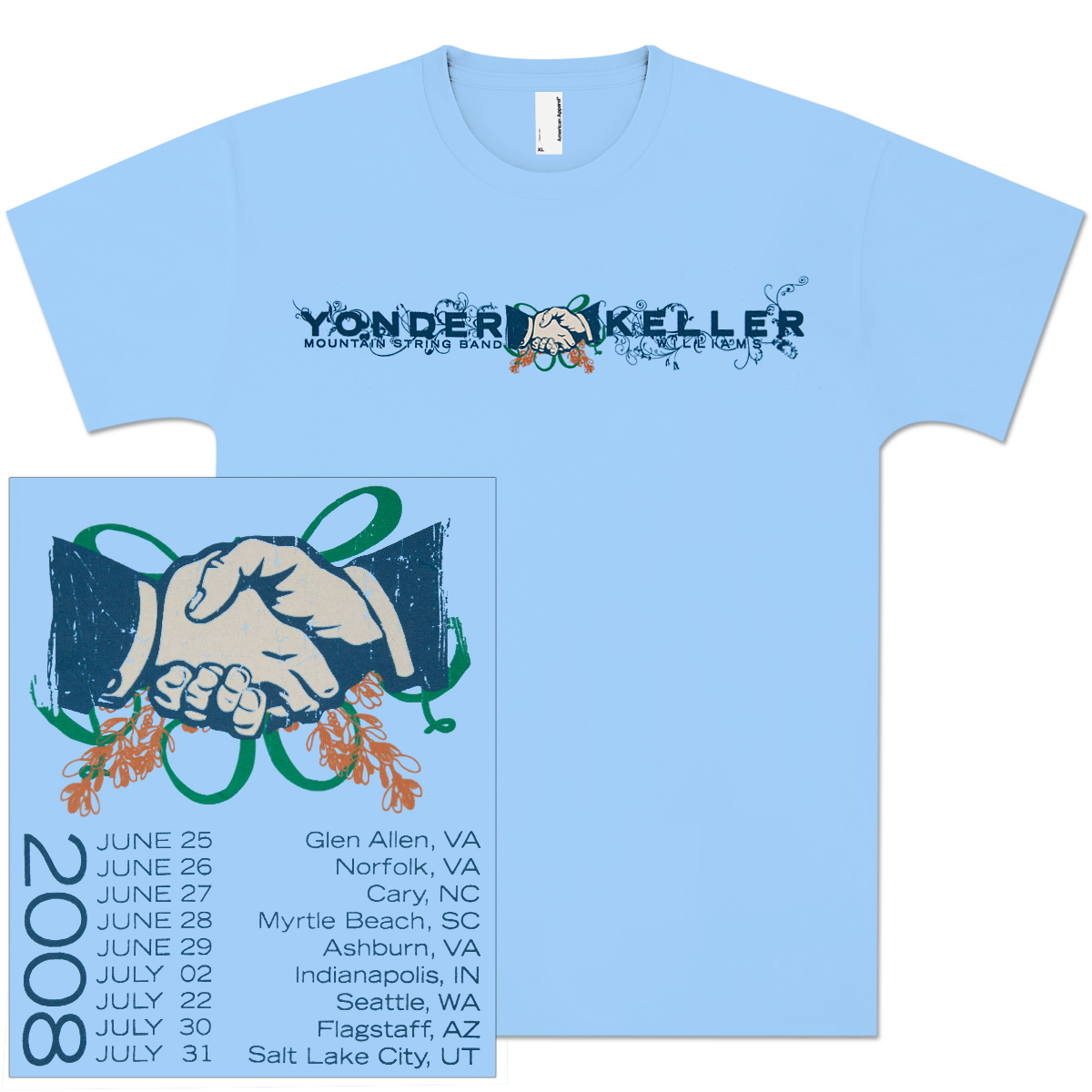 Keller Williams/Yonder Mountain String Band 2008 Summer Tour T-Shirt