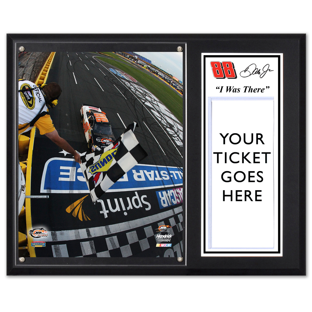 "Dale Jr #88 2012 Sprint Showdown Win 12""x15"" Plaque w/ Ticket Holder"