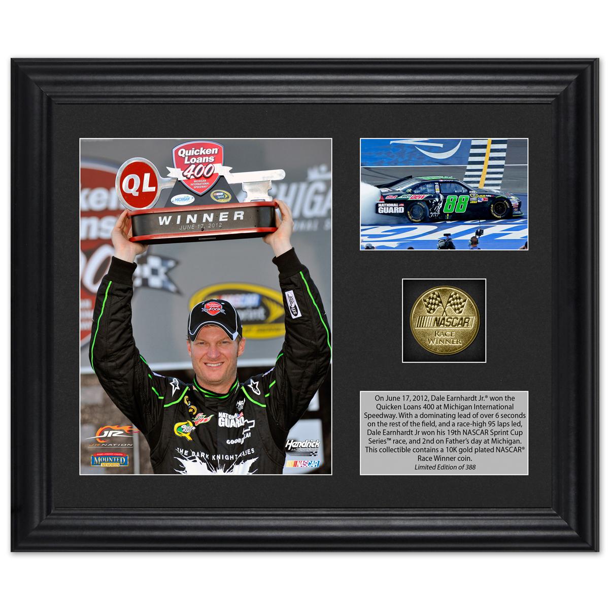 Dale Earnhardt Jr. 2012 Quicken Loans 400 Race Winner Framed 6x5 Photo w/ Plate & Gold Coin – L.E. of 388