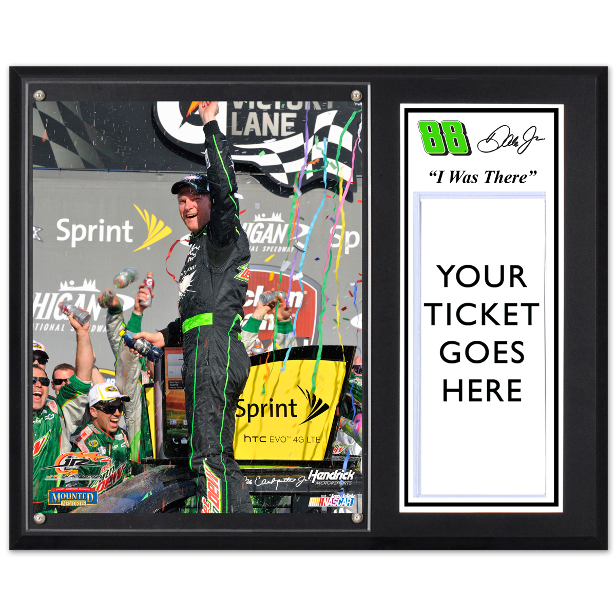 "Dale Earnhardt Jr. 2012 Quicken Loans 400 Sublimated 12x15 ""I WAS THERE"" Photo Plaque & Ticket Holder"