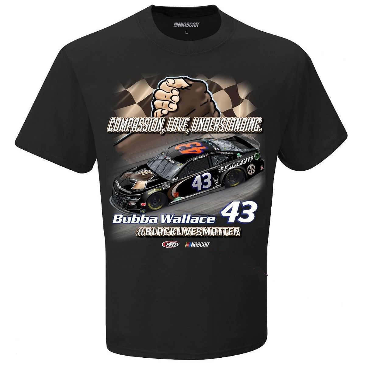 Bubba Wallace #43 2020 #BlackLivesMatter NASCAR Graphic T-shirt