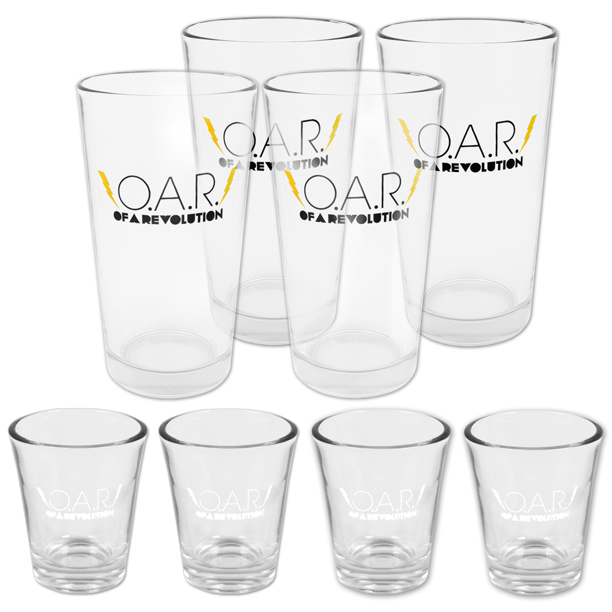 O.A.R. Lightning Bolt 1.75oz Shot Glass and 16oz Pint Glass bundle (8 total items)