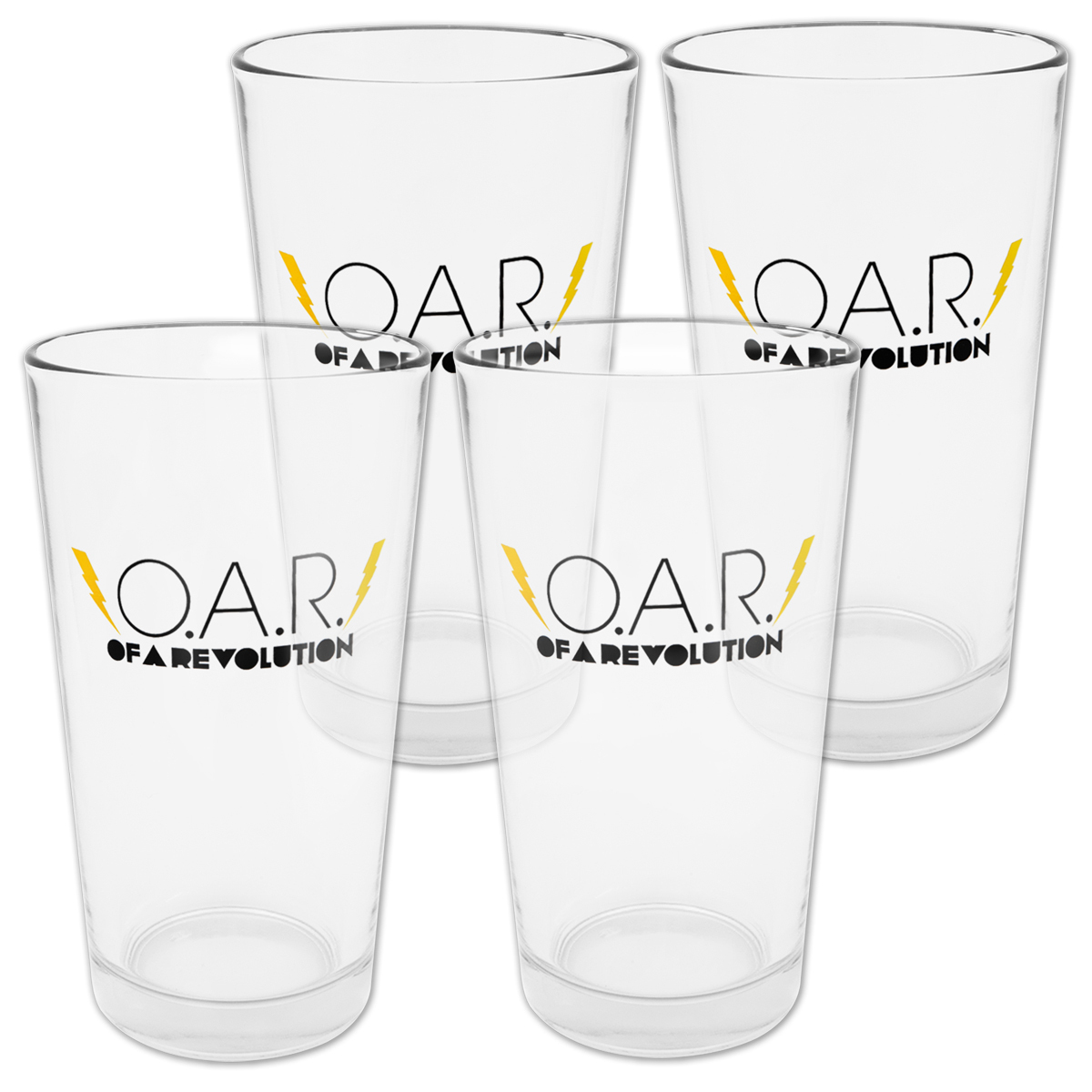 O.A.R. Lightning Bolt 16oz Pint Glasses (Set of 4)