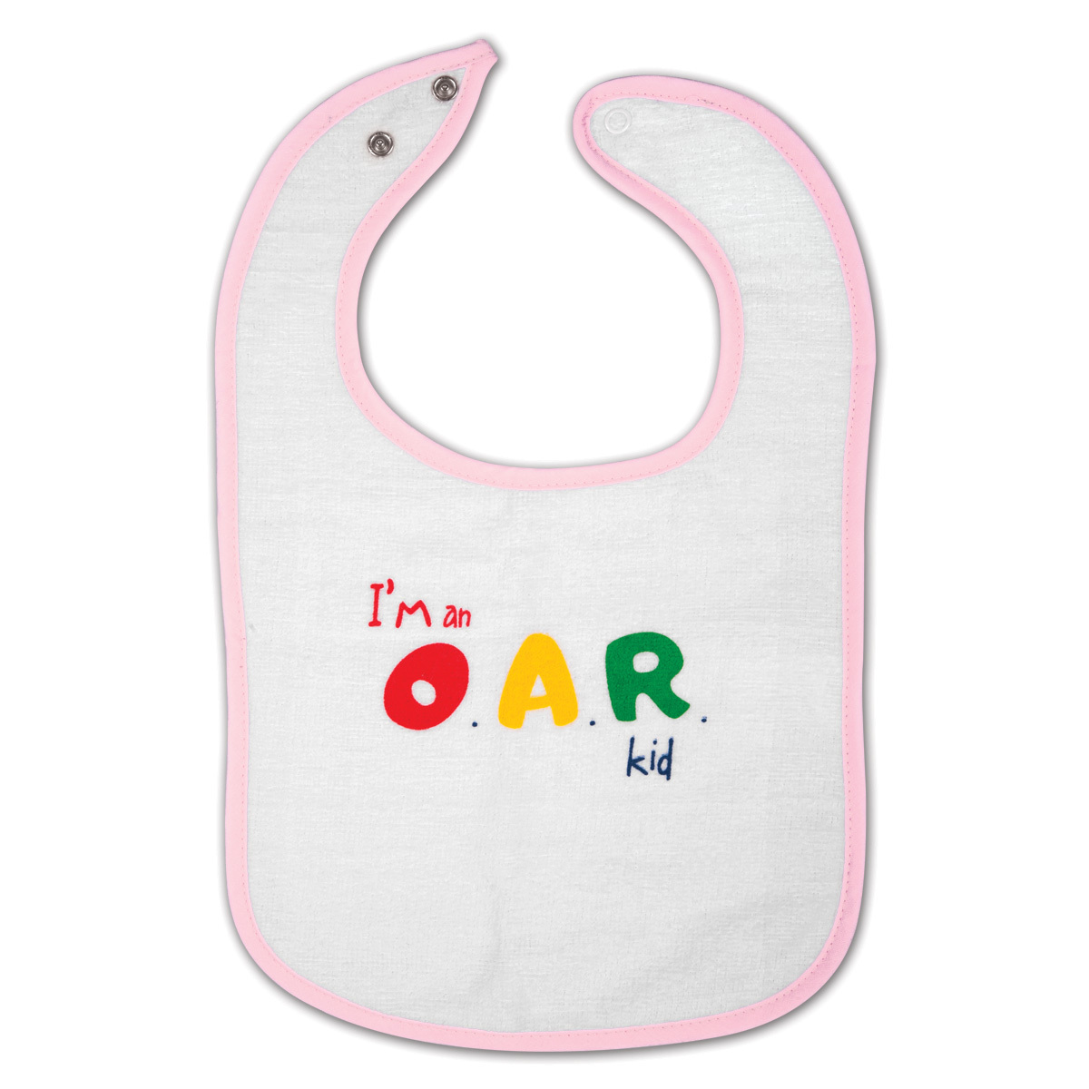 I'm an O.A.R. Kid Pink and White Bib