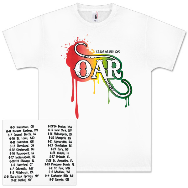 O.A.R. White Rasta Drip Summer 09 Tour T-Shirt