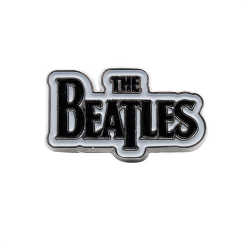 The Beatles Black Logo on White Button - Small