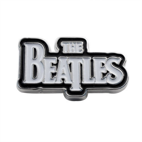 The Beatles White Logo on Black Button - Small