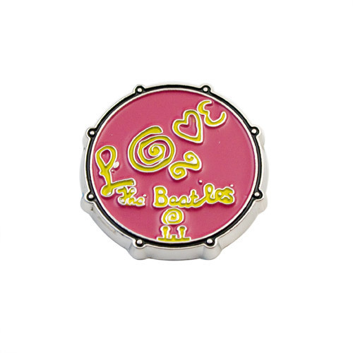 The Beatles Love Drum Button - Pink