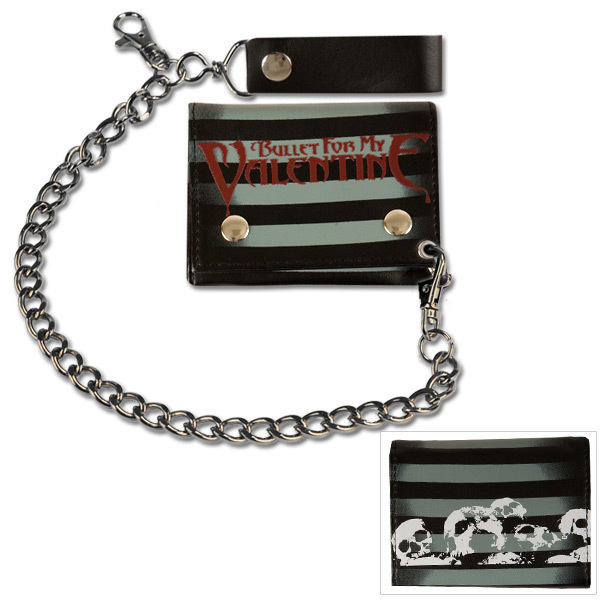 Bullet For My Valentine Wallet- Skull & Stripes Chain Wallet