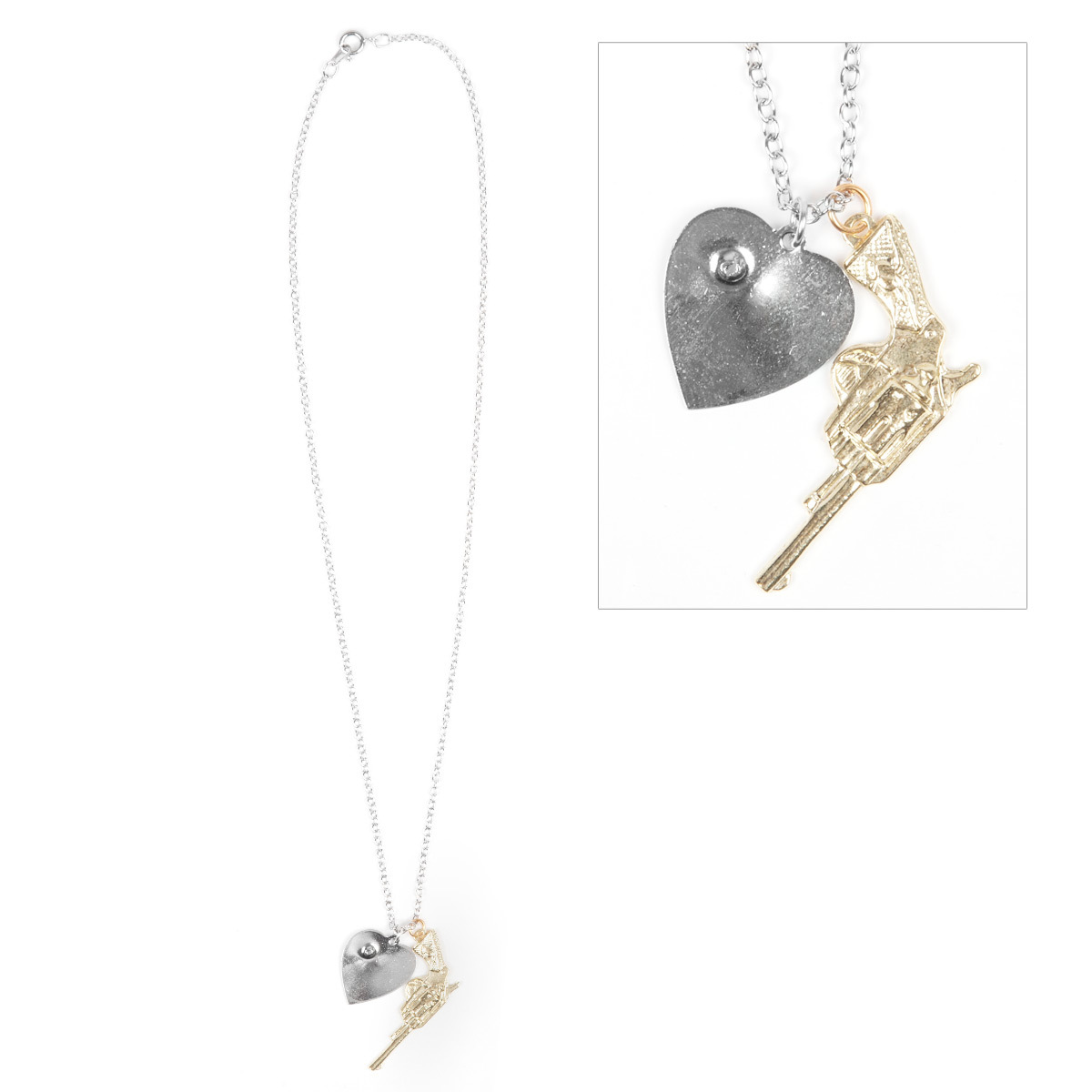 Semi Precious Weapons Gun & Heart Necklace