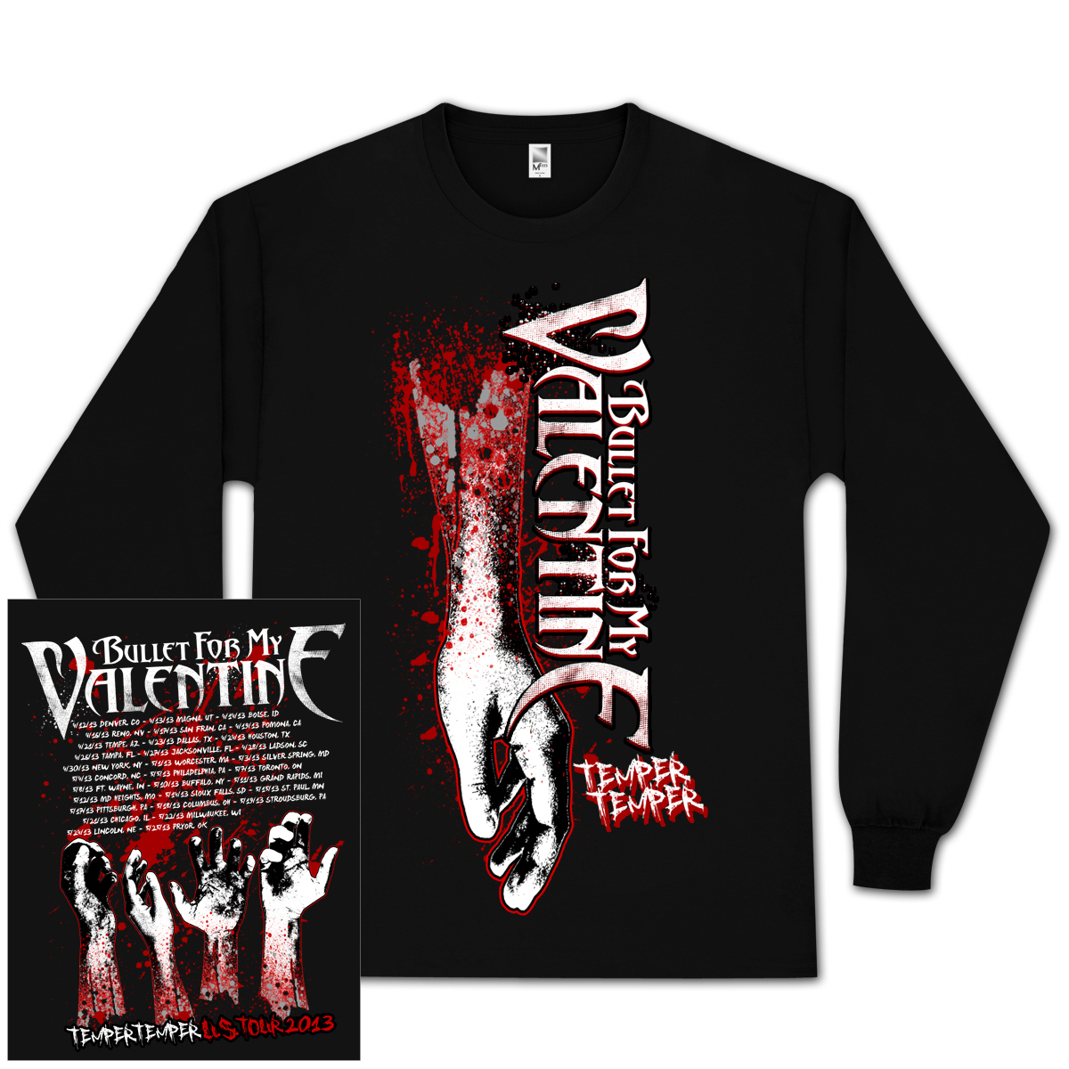 Bullet For My Valentine Bleeding Arms 2013 Tour Long Sleeve Shirt
