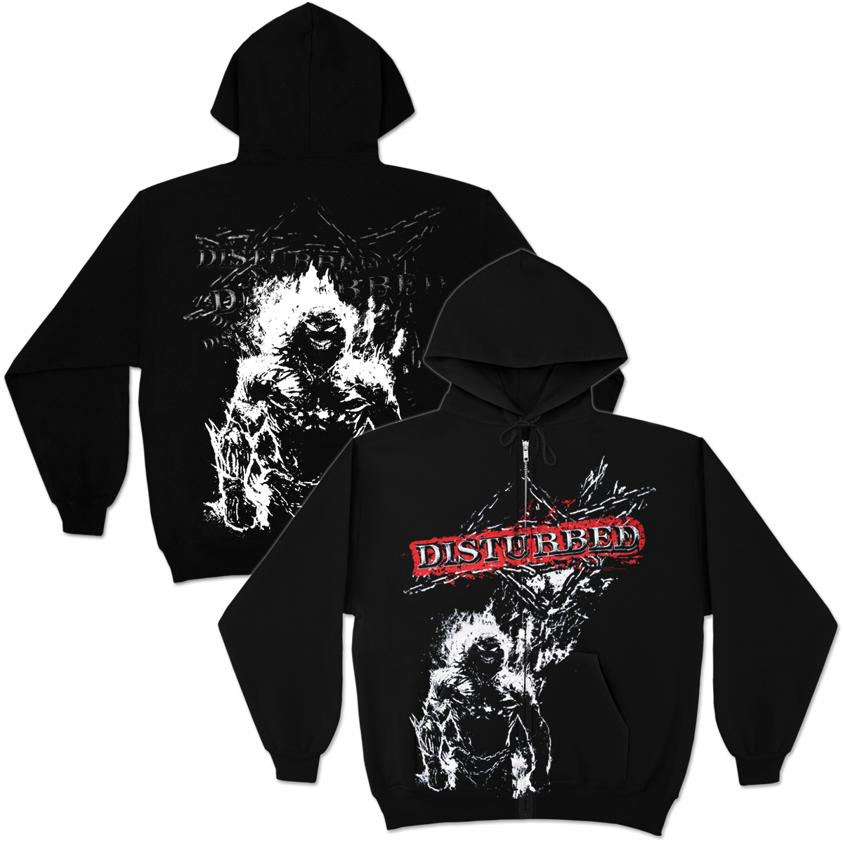 Disturbed   Outerwear   Disturbed Chain Scramble Zip Hoodie