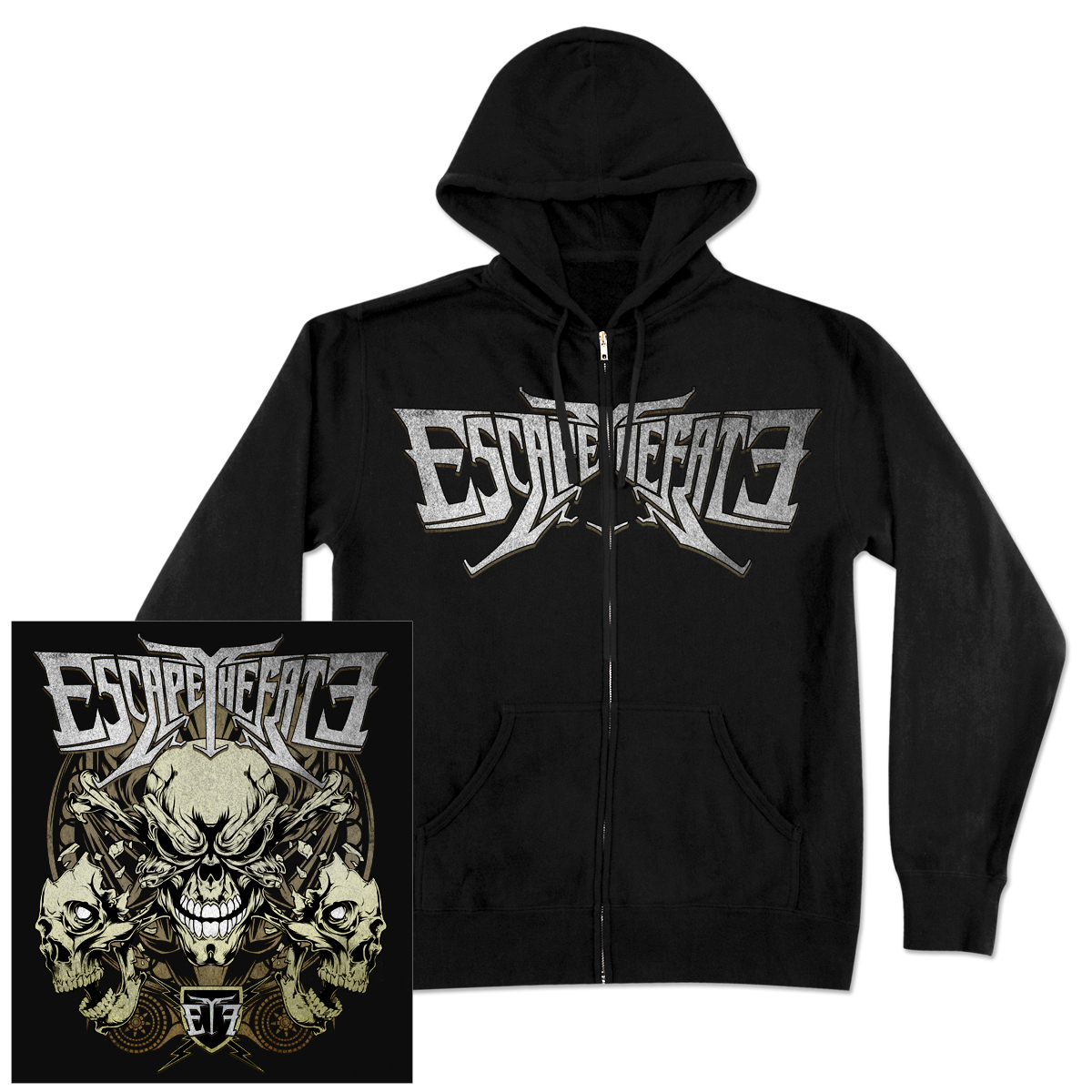 Escape The Fate Triple Skull Zip Hoodie