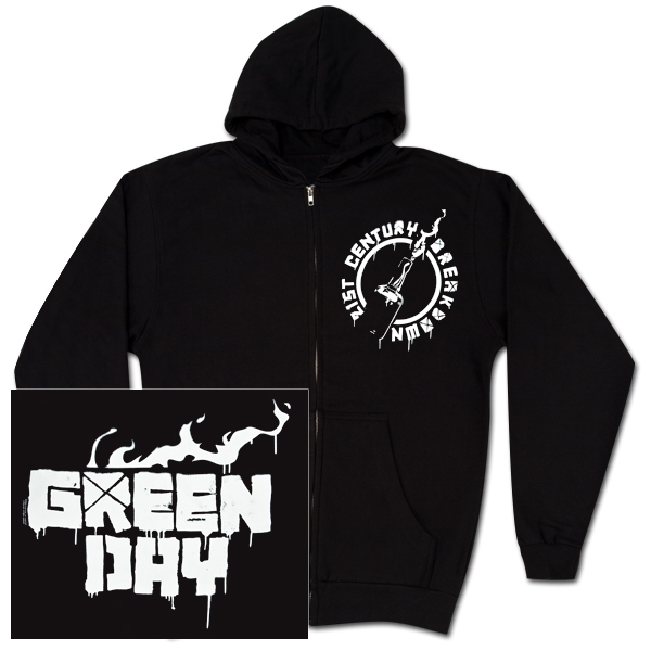 Green Day Molotov Black Zip Hoodie