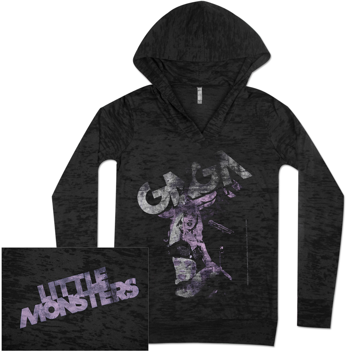 Lady Gaga Little Monster Burnout Girls Hoodie