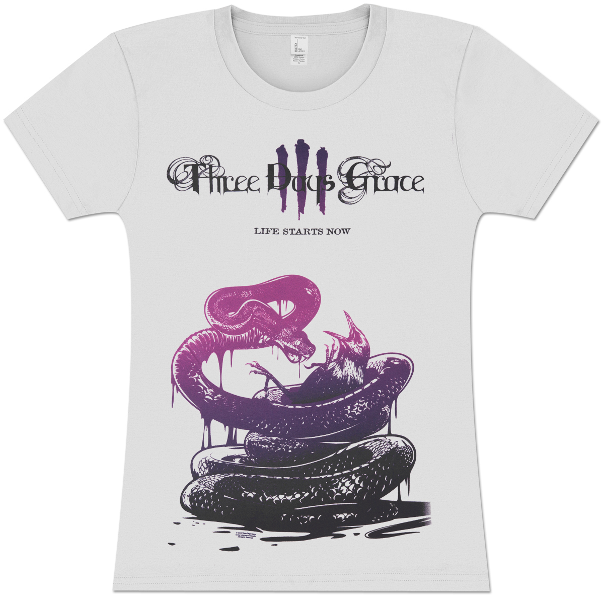 Three Days Grace Snake Killing Bird Girlie T-Shirt