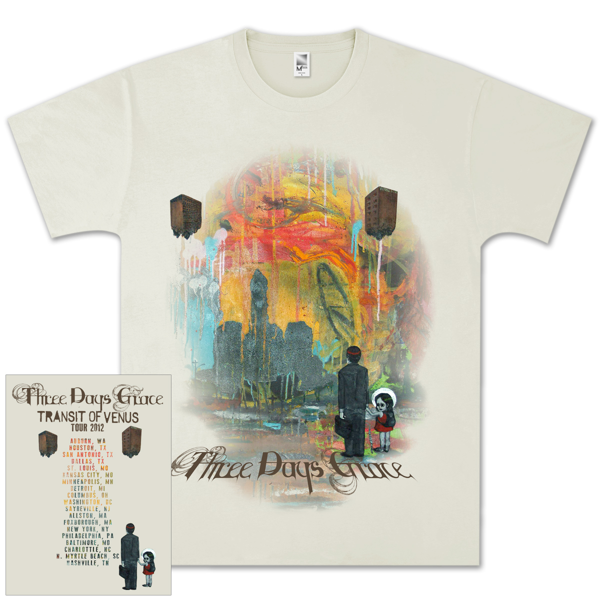 Three Days Grace Look Back 2012 Tour T- Shirt
