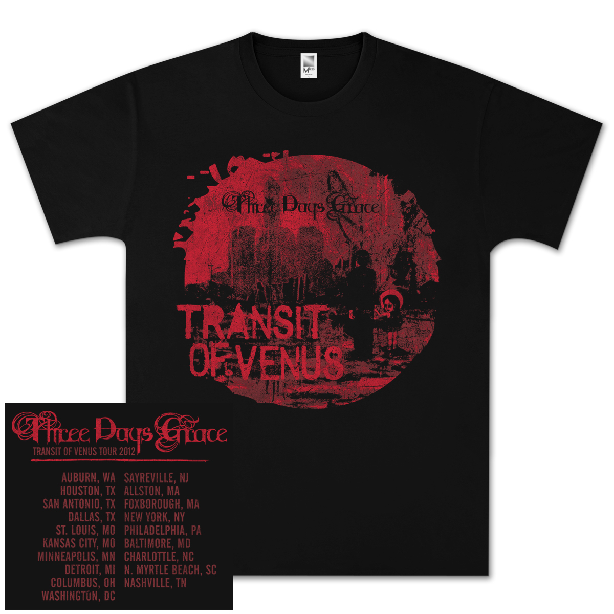 Three Days Grace Painted Venus 2012 Tour T- Shirt