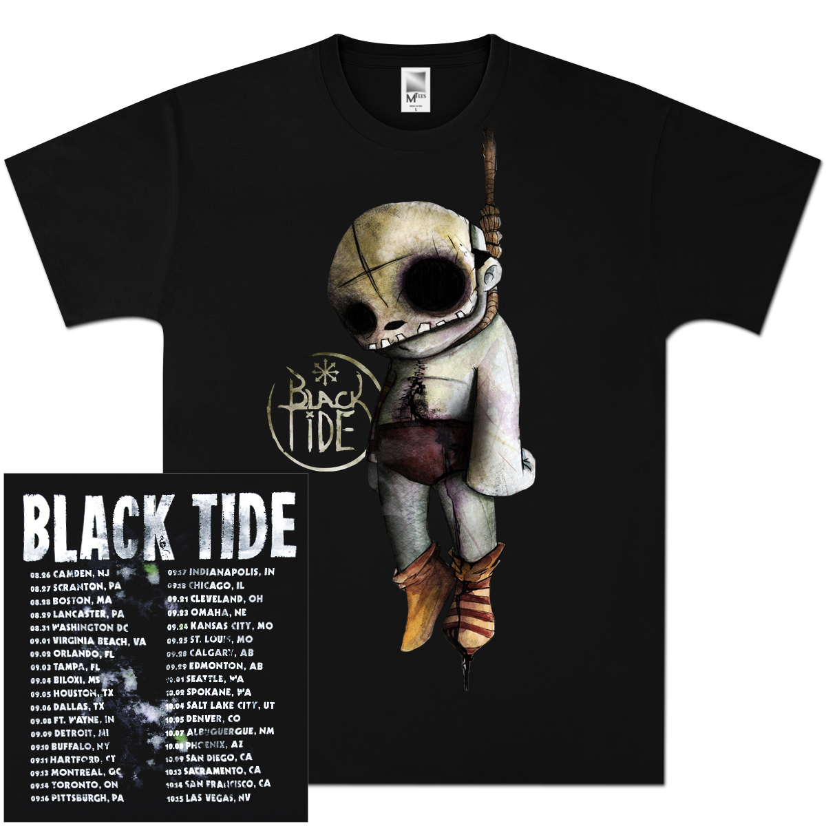 Black Tide Post Mortem 2011 Tour T-Shirt