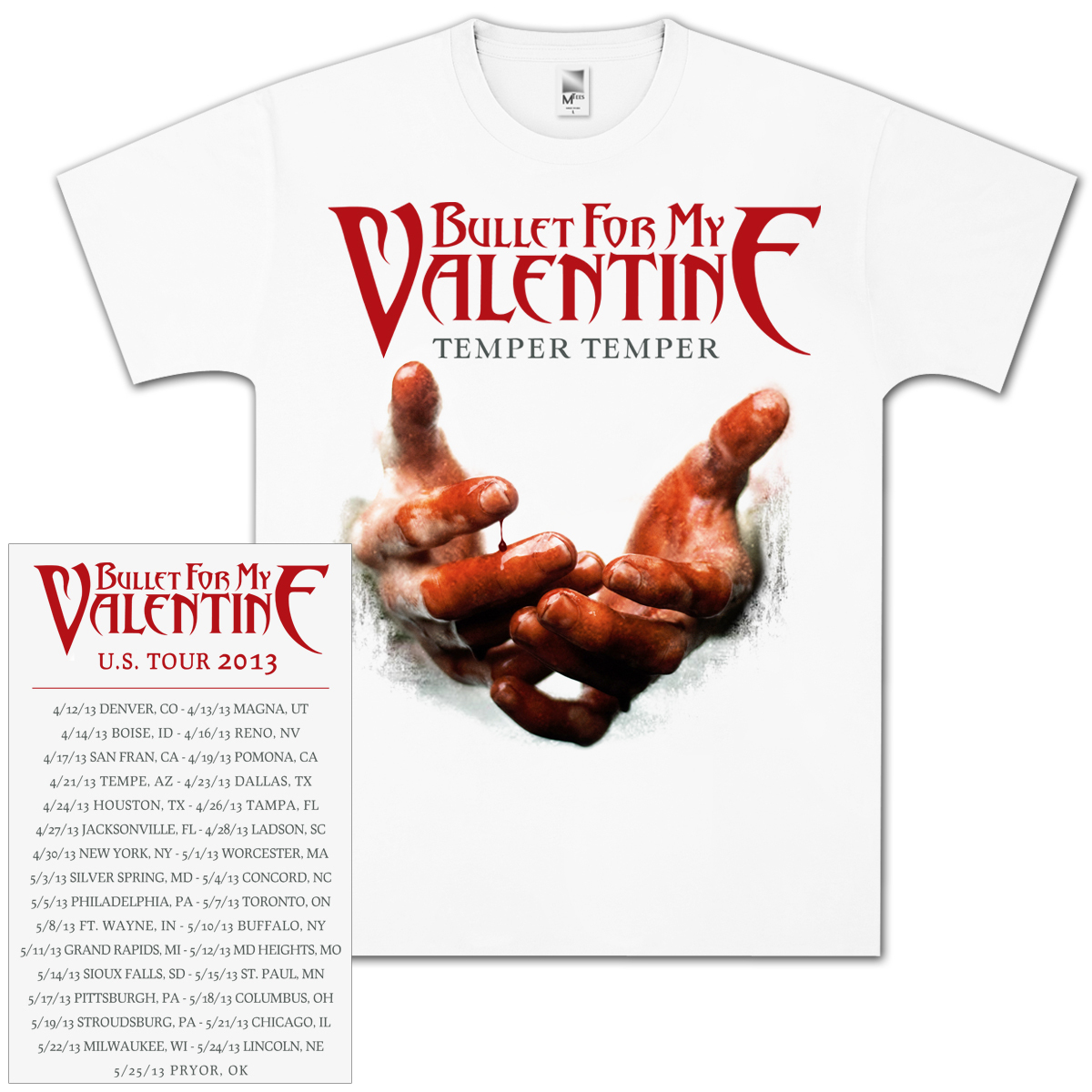 Bullet For My Valentine Hands 2013 Tour T-Shirt
