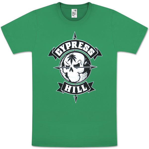 Cypress Hill Skull And Compass Green T-Shirt