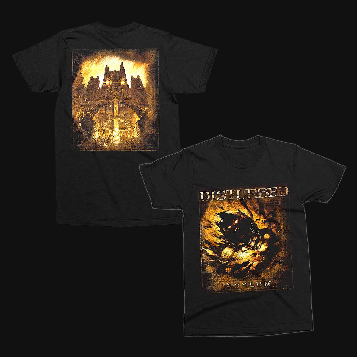 disturbed asylum album cover t shirt shop the musictoday merchandise official store. Black Bedroom Furniture Sets. Home Design Ideas